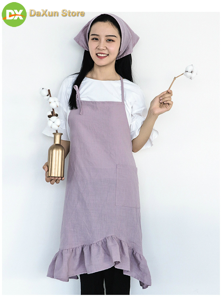 Apron Korean Cotton Fabric Kitchen Pleated Disc Tail Washed Cooking Adjustable Fashion Aprons for Woman