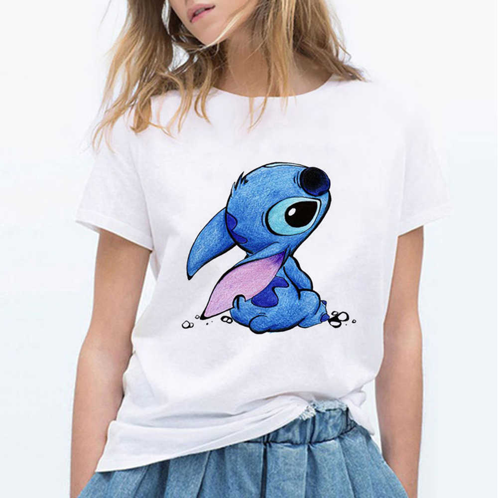 LILO STITCH Cartoon T Shirt Donna Kawaii Maglietta di Modo Vestiti Streetwear Vintage Harajuku Kawaii T-Shirt