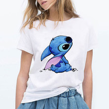 LILO point dessin animé T-Shirt femmes Kawaii T-Shirt mode vêtements Streetwear Vintage Harajuku Kawaii T-Shirt(China)