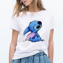 LILO STITCH dibujos animados camiseta mujer Kawaii camiseta moda ropa Streetwear Vintage Harajuku Kawaii camiseta