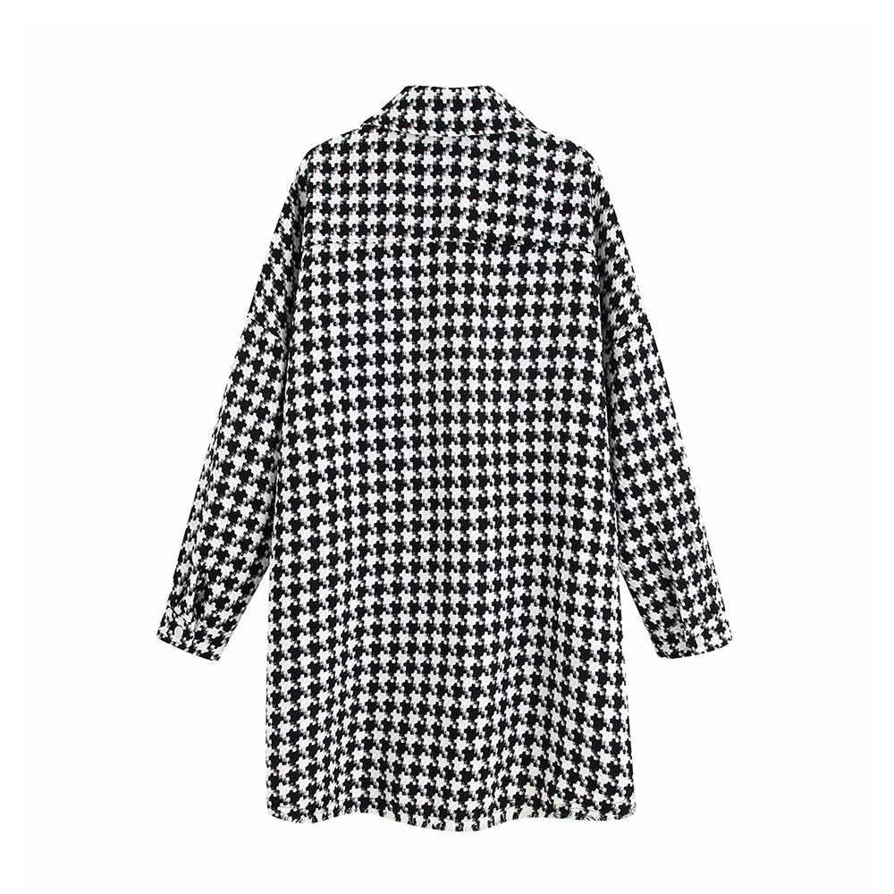 ONKOGENE Frauen Vintage Übergroßen Hahnentritt Jacke Mantel Mode Taschen Ausgefranste Seite Vents Lose Plaid Damen Oberbekleidung Chic Tops