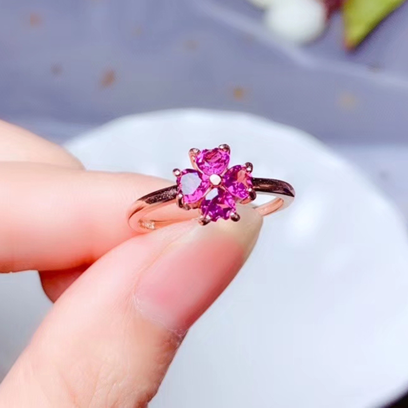 CoLife Jewelry 925 Silver Heart Ring 4 Pieces Natural Pyrope Garnet Ring Fashion Silver Gemstone Ring Gift for Woman