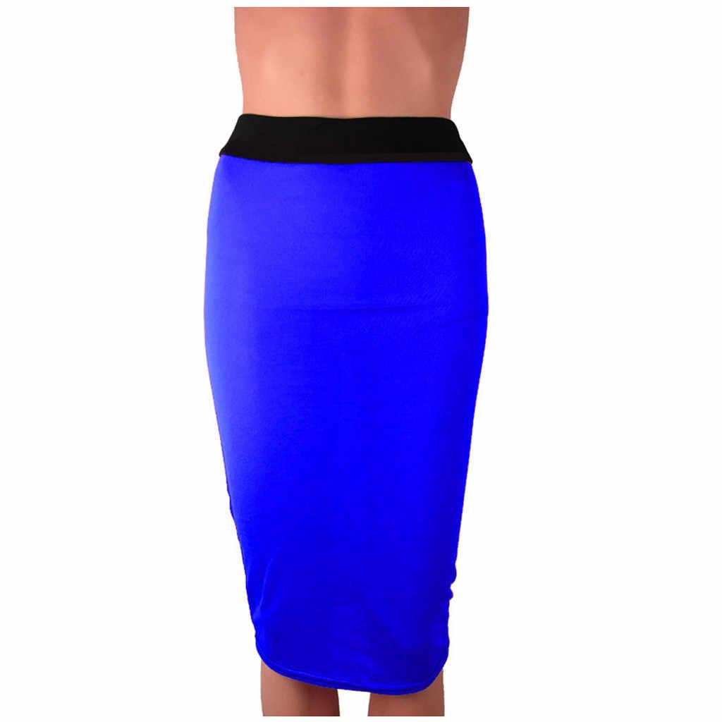 Femmes jupe ropa mujer mode Ladys Body-con jupe taille moyenne bureau mince Patchwork jupe genou longueur faldas mujer moda 2019
