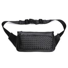 Fashion Weave Mens Waist Bags PU Waterpoor Waist Packs Business Men Bag Casual Travel  Leather Shoulder Bag New Belt Bags Male