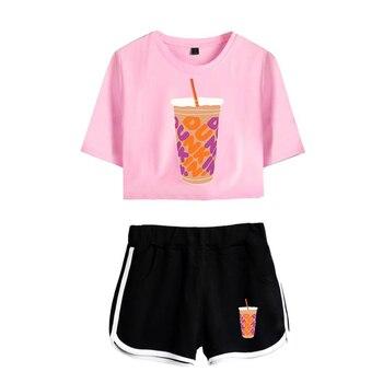 New Charli DAmelio Ice Coffee Splatter Women Two Piece Set Shorts+lovely T-shirt Sexy charli damelio merch Sport suit Girl 3