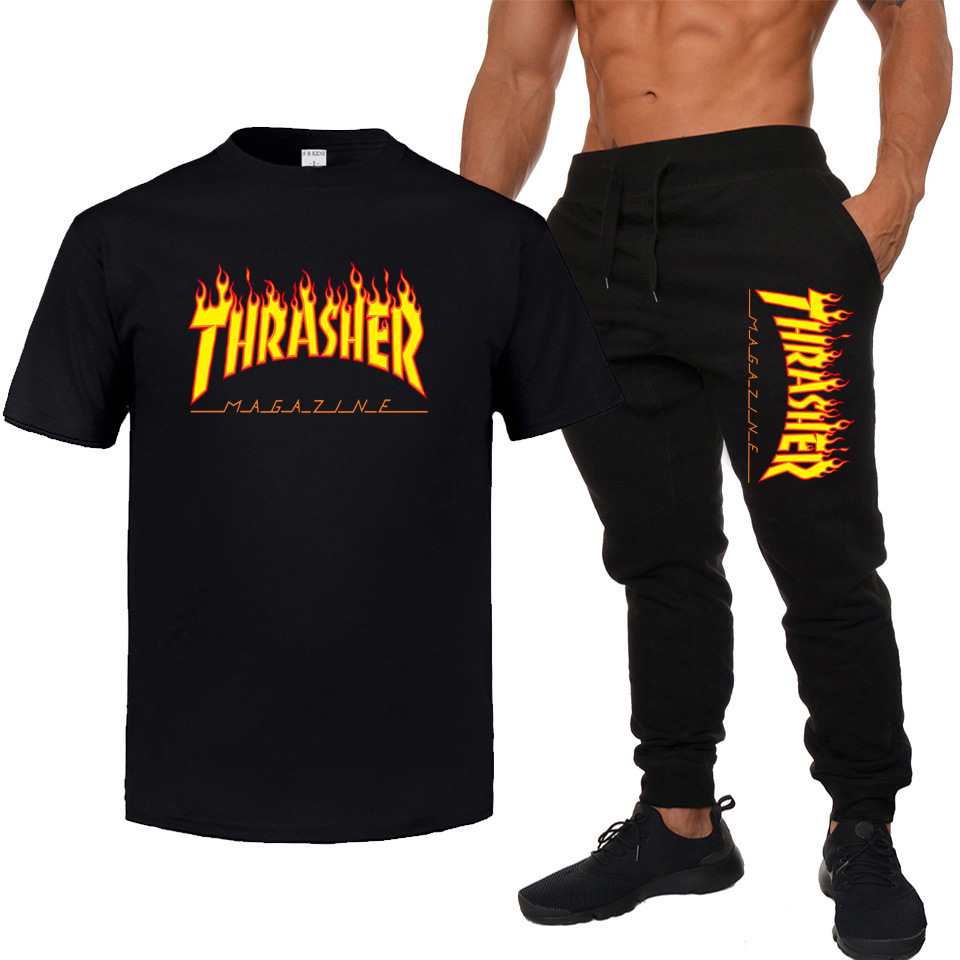 MEN'S WEAR Thrasher Skateboard Popular Brand Fixed Gear Hip Hop Cotton Short Sleeve T-shirt + Thin Trousers