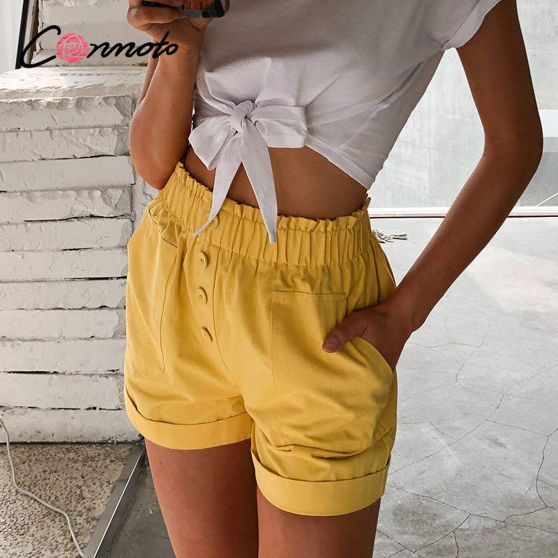 Conmoto Elastic High Waist Shorts Women Casual Summer Holiday Button Shorts Yellow Crimping Streetwear Pockets Shorts