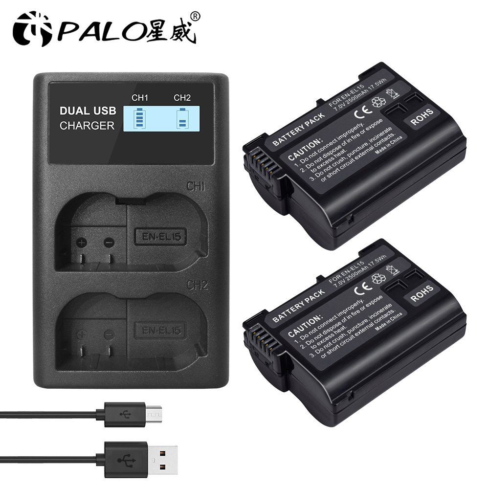 Pour Nikon EN-EL15 ENEL15 batterie numérique rechargeable en-el15a EN EL15 2550mAh batterie dappareil photo pour Nikon D500 D750 D7100 D7000