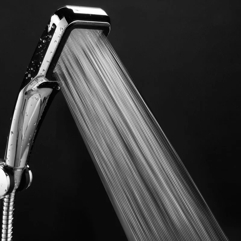 Shower Head Water Saving High Pressurized ABS With Chrome Handheld Shower 300 Hole Bathroom Water Booster Showerhead