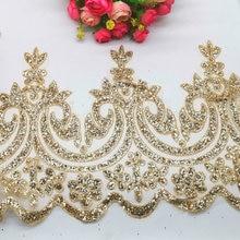 Bordado de renda de noiva 22cm, borda de renda de casamento com glitter dourado