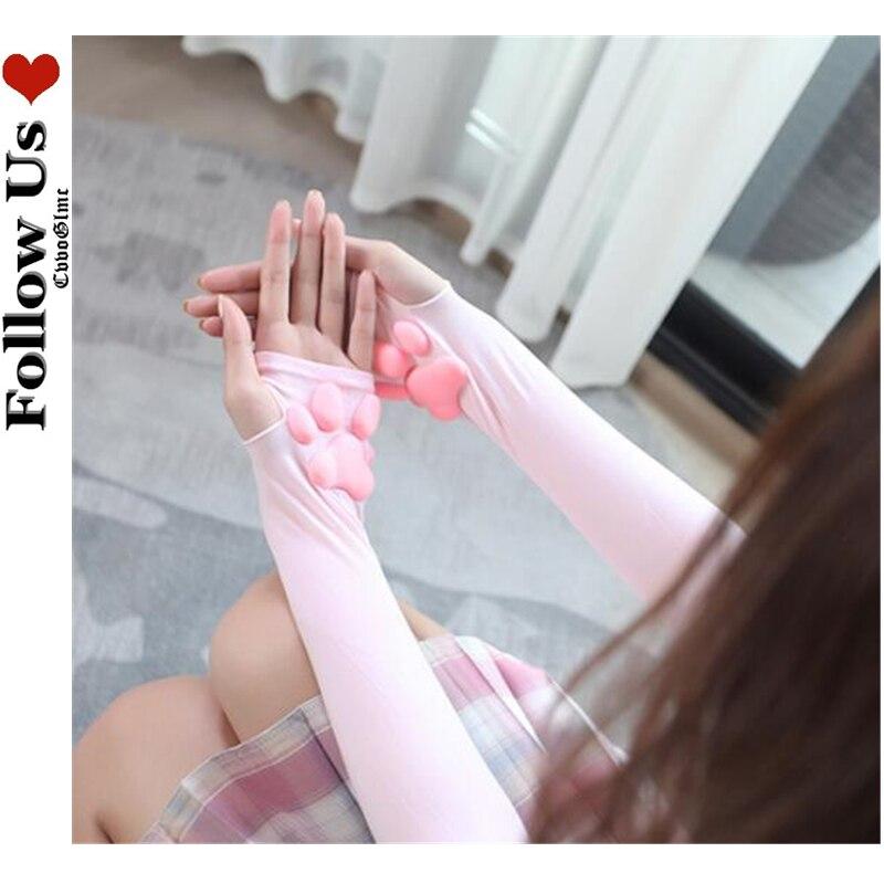 3D Silicone Cat Paw Gloves Lolita Kawaii Cute Kitten Fingerless Mittens Pawpads Gloves Women Girl Christmas Halloween Arm Warmer