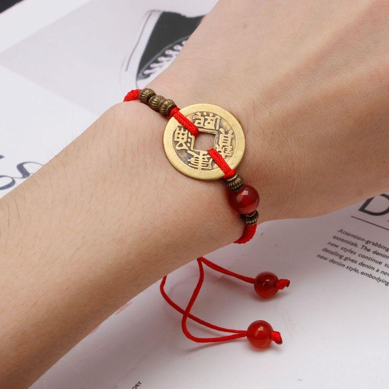 Фэн-шуй я Цзин древняя монета Каббала Красная струна привлекают удачу богатство браслеты