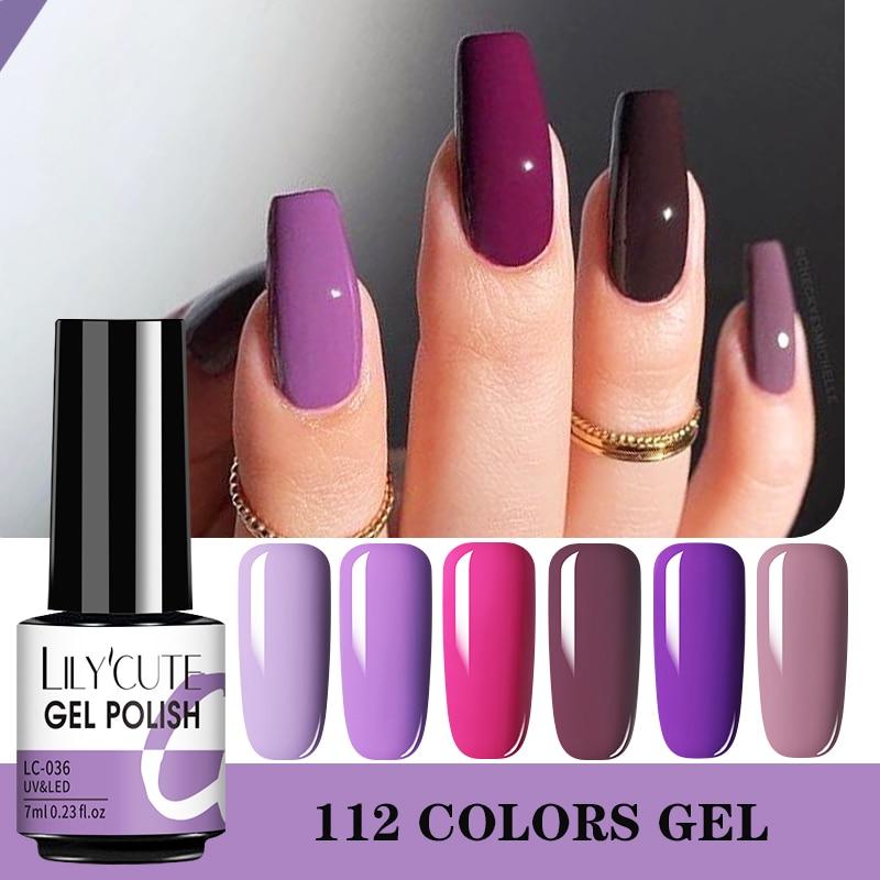 LILYCUTE 7 мл Гель лак для ногтей фиолетовая серия телесного цвета полуперманентный отмачиваемый гель светодиодный Ф светодиодные Лаки базовое и верхнее матовое покрытие|Гель для ногтей|   | АлиЭкспресс