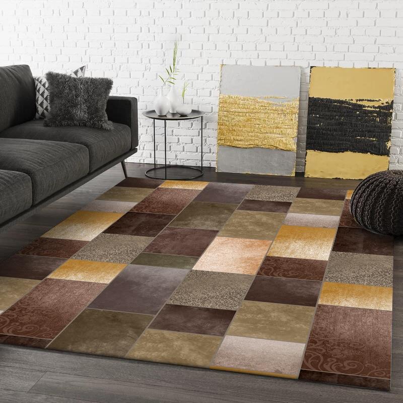 Américain luxe jaune marron vert motif géométrique épissure tapis salon tapis de sol chambre en peluche tapis sur mesure tapis de porte