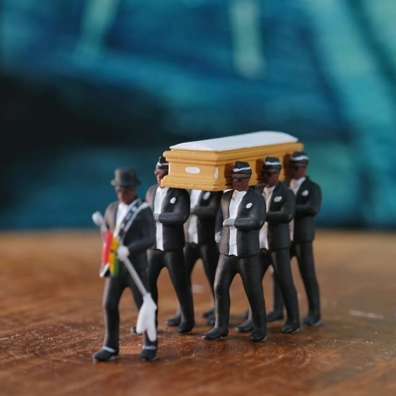 Coffin Dance Ghana Pallbearers Black Cap Funeral Dancing Team Display Dressed Costume Cosplay Props
