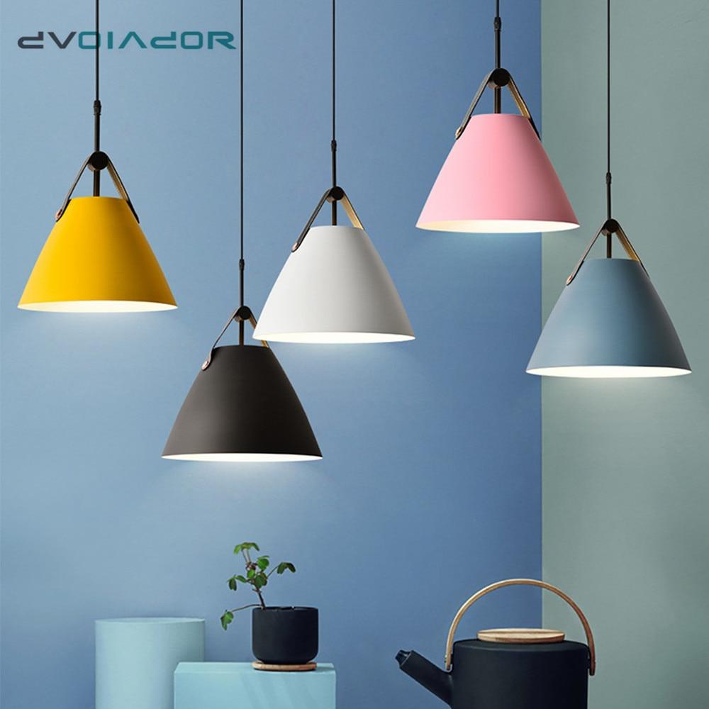 Nordic Light Modern Pendant Lights Colorful Aluminum Hanging Light Fixtures Living Room Bedroom Bedside Cafe Bar Creative Lamp