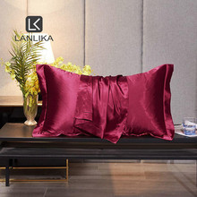 Lanlika Women 100% Silk Wine Red Beauty Pillowcase Healthy Bed Pillow Case Home Textile Healthy Pillow Cover Free Shipping