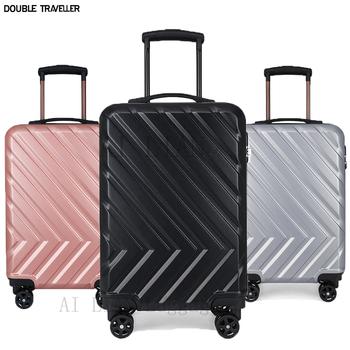 20 cal podręczny ons bagaż na kółkach podróży walizka na kółkach kabina walizka na kółkach wózek ABS przypadku bagażu-torby luksusowe walizka tanie i dobre opinie DOUBLE TRAVELLER CN (pochodzenie) Spinner Unisex Rose gold black silver black luggage bag trolley trolley bag