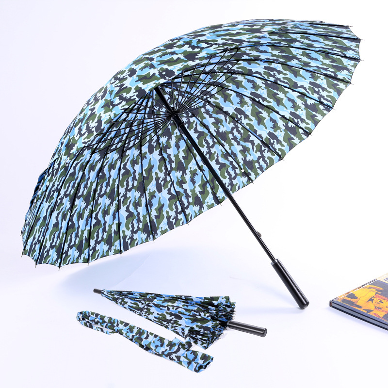 -Processing Customizable 24K Navy Camouflage Automatic Straight Umbrella Windproof Sun-resistant UV-Protection NC Fabric Umbrell