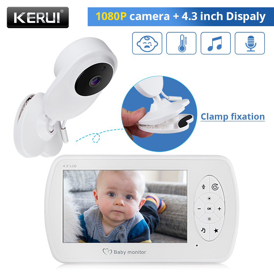 KERUI 4.3 Inch Wireless Color Baby Monitor 1080P HD Audio Video Baby Camera Temperature Monitor Security Camera IR Night Vision