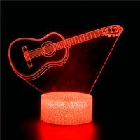 Luz nocturna en forma de guitarra 3D, interruptor de Control táctil con Control remoto, 16 colores, Led, USB, decoración de lámpara interior