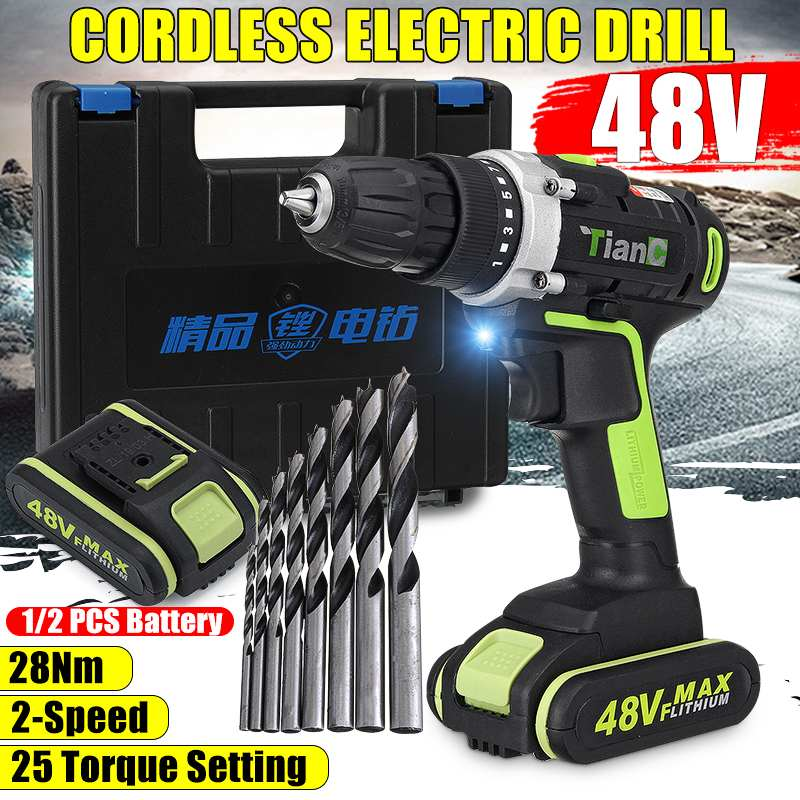 48V Electric Cordless Drill Mini Drill Lithium-Ion Battery 25-28Nm 15-Speed