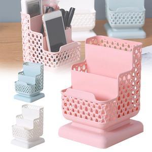 New Creative Multi-function 3 Grids Desktop Storage Box Cosmetic Storage Sub-grid Pen Case Makeup Organizer Desk Holder Fast del