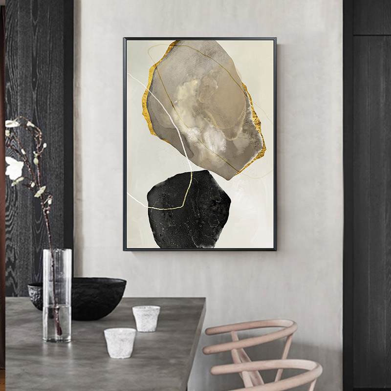 Nordic Abstract color Stone Zen golden canvas painting poster and print unique decor wall art
