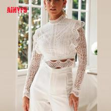 White Women Print Lace Long Sleeve Clothing Sexy Hollow Out Embroidery Slim Crop Top Femme O-Neckt Petal Sleeve Ladies Shirt lace ruffle short crop top long sleeve hollow out black slim sexy backless korean spring white pink cardigan shirt women blouse