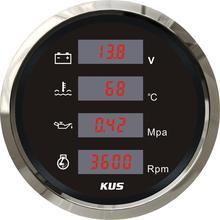 Kus Digitale 4 In 1 Multifunctionele Gauge Voltage Meter, Water Temperatuur Meter, Olie Druk Meter, Toerenteller