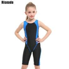 Riseado Girls Sport One Piece Swimsuit New Racer Back Swimwear Patchwork Children Bathing Suit Competitive Boyleg Bodysuit 2019