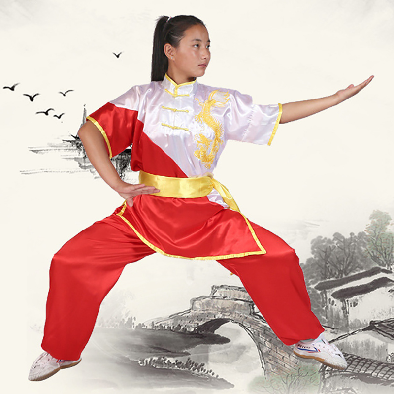 USHINE Chinese Wushu Uniform Kungfu Clothing Martial Arts Suit Taichi Clothes Embroidery Costume For Man Woman Boy Children