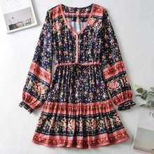 Мини платье gypsylady в стиле бохо с цветочным принтом праздничные