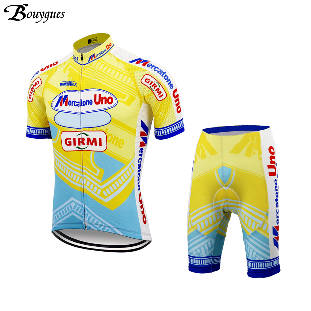 Image 3 - Pro Summer Retro cycling jersey set yellow ropa ciclismo hombre Top quality cycling clothing 9D gel pad MTB jersey Mercatone UNOCycling Sets   -