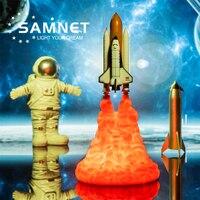 2021 Dropship 3D Print Led Nachtlampje Space Shuttle Raket Lamp Saturn V Lamp Voor Ruimte Liefhebbers Usb Opladen Schakelaar controle