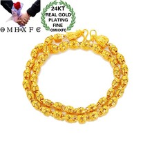 OMHXFC Jewelry Wholesale EX186 European Fashion Fine Man Party Birthday Wedding Olive Beads Dragon Head 24KT Gold Chain Necklace(China)