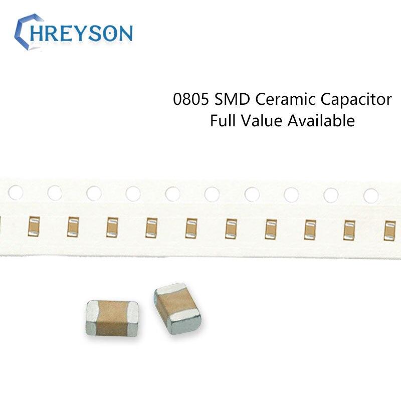100 шт. 0805 SMD конденсатор с алюминиевой крышкой, электроника 5% 10% 20% 2012 22pF 27pF 33nF 6,3 V 16V, алюминиевая крышка, 25В с алюминиевой крышкой, 50В 222K 105K полн...