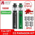 Испаритель ручка 100 Вт Vaptio C2/C2 PARAGON Vape kit 3000 мАч встроенный батарейный мод электронная сигарета 4 0 мл/8 0 мл набор атомайзеров