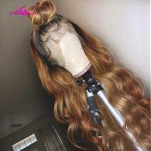 1B 27 Ombre объемная волна 13x4x1 человеческие волосы кружевные парики для женщин бразильские Remy человеческие волосы парики предварительно выщипа...