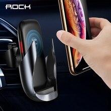 ROCK QI cargador de coche inalámbrico para iPhone, cargador de coche inalámbrico de carga rápida, soporte de teléfono para Samsung, Huawei y Xiaomi