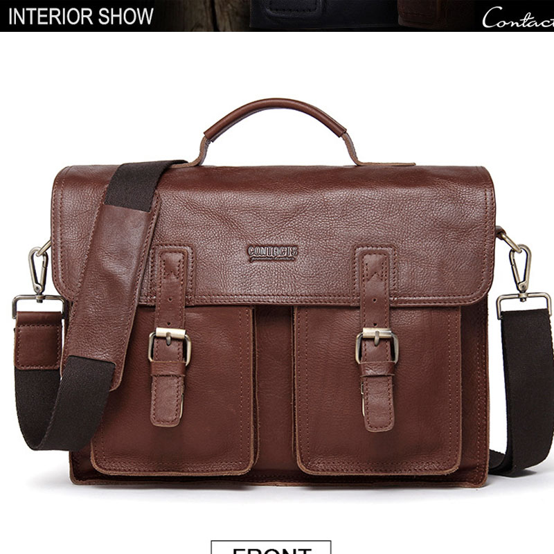 Большой Вместительный деловой мужской портфель 17 дюймов, коричневые сумки, мужские водонепроницаемые портфели для компьютера, ноутбука