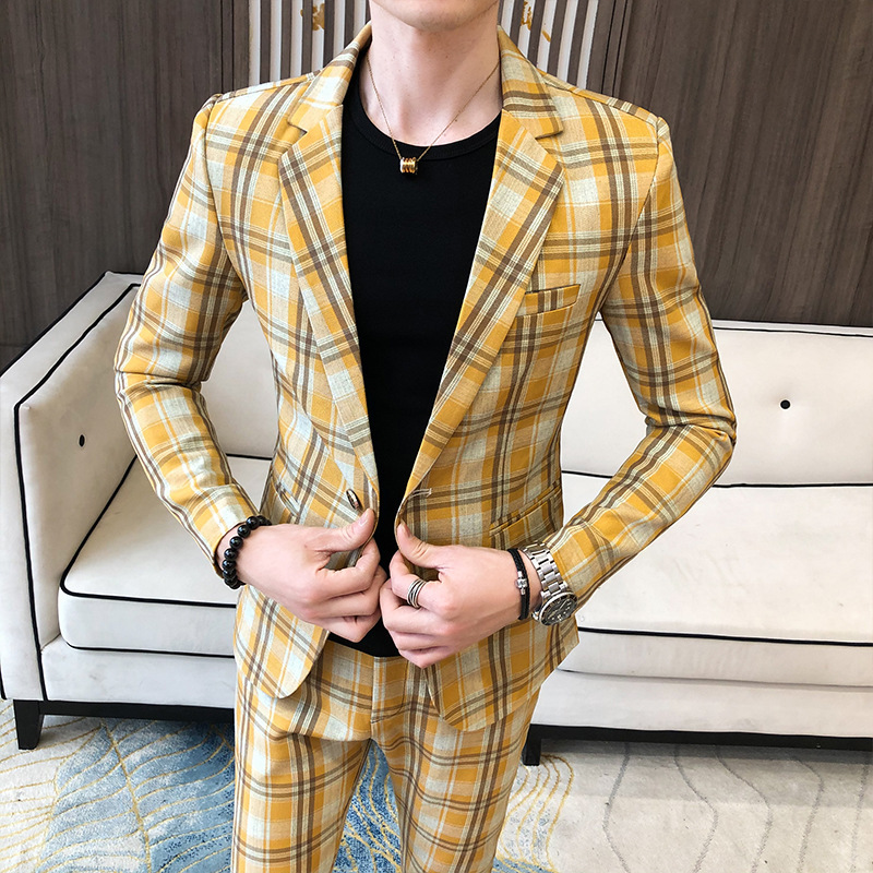 2020 Season Grid Suit Suit Men Slim Fit Barber Small Suit Groom Marriage Dress