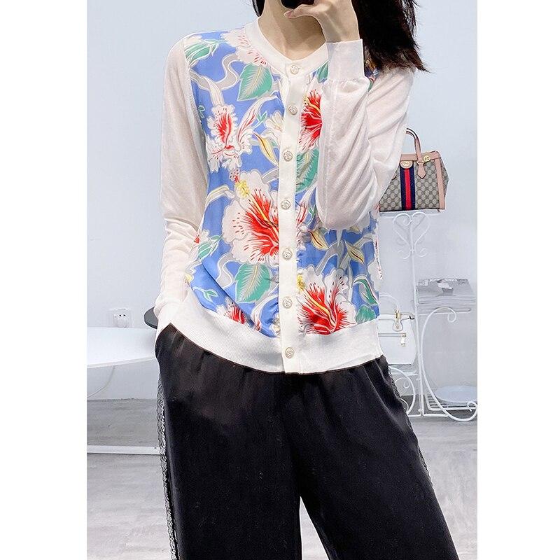Женский Шелковый Кардиган с длинным рукавом, свитер с цветочным принтом