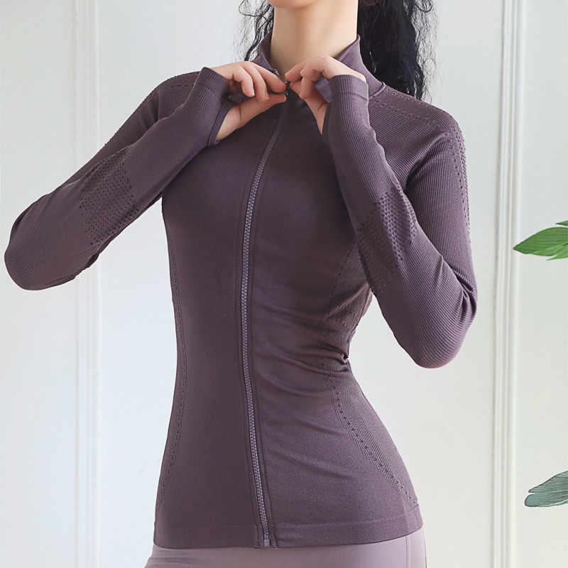 جديد إمرأة جاكت رياضي سليم صالح سترة يوجا تنفس الرياضة البلوز سستة اللياقة البدنية تشغيل سترة النساء ملابس رياضية
