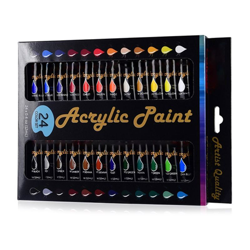 12ml 24 Colors Professional Acrylic Paint Draw Painting Pigment Water Resistant