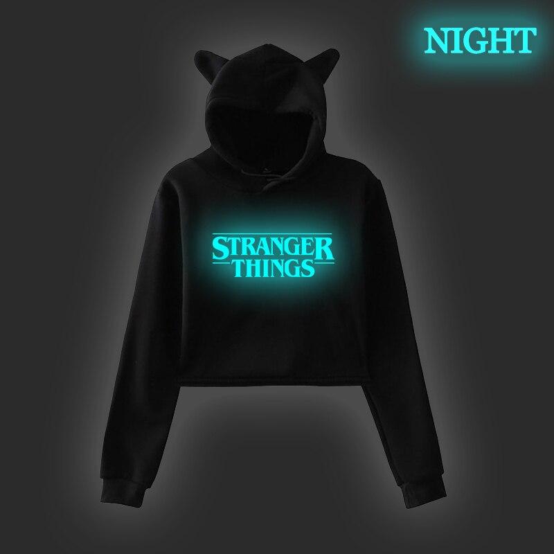 Stranger Thing Luminous Korean Hoodie Womens Sweatshirts Crop Winter Tops Female Pink Cat Ear Spring Autumn Pink Black Clothing