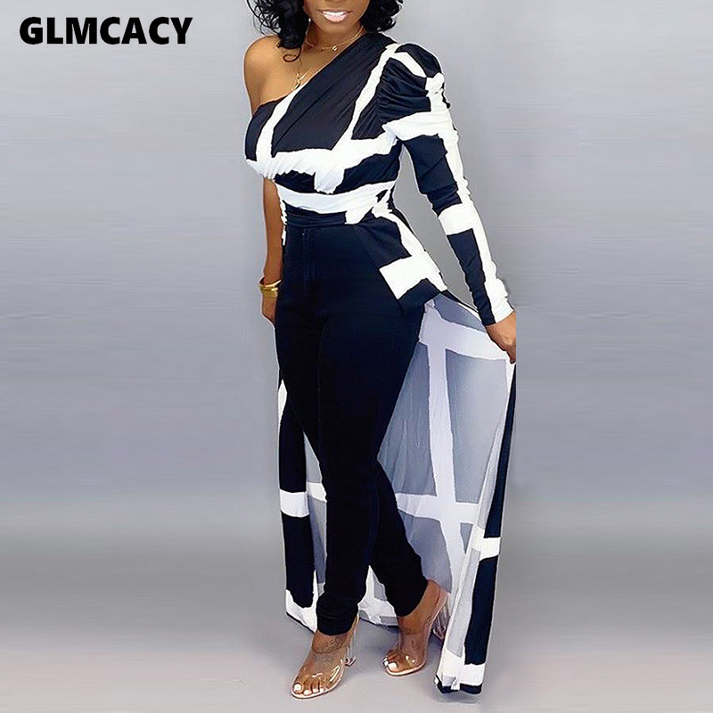 Women Plus Size Plaid Leopard Printed One Shoulder Long Sleeve Blouse Sexy & Club Night Out Party Spring Fall Shirt