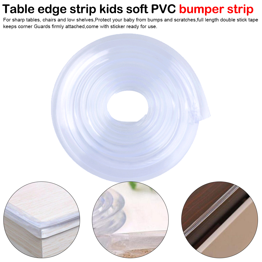 1m Baby Safety Table Desk Edge Transparent Edge Corner Protection Strip Baby Collision Proof Edge Guards Soft Softener Bumper