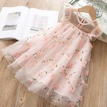 Милое Платье для девочек Новинка года, летняя одежда для девочек платье принцессы с цветочным рисунком Детская летняя одежда платье для маленьких девочек повседневная одежда для детей возрастом от 3 до 8 лет