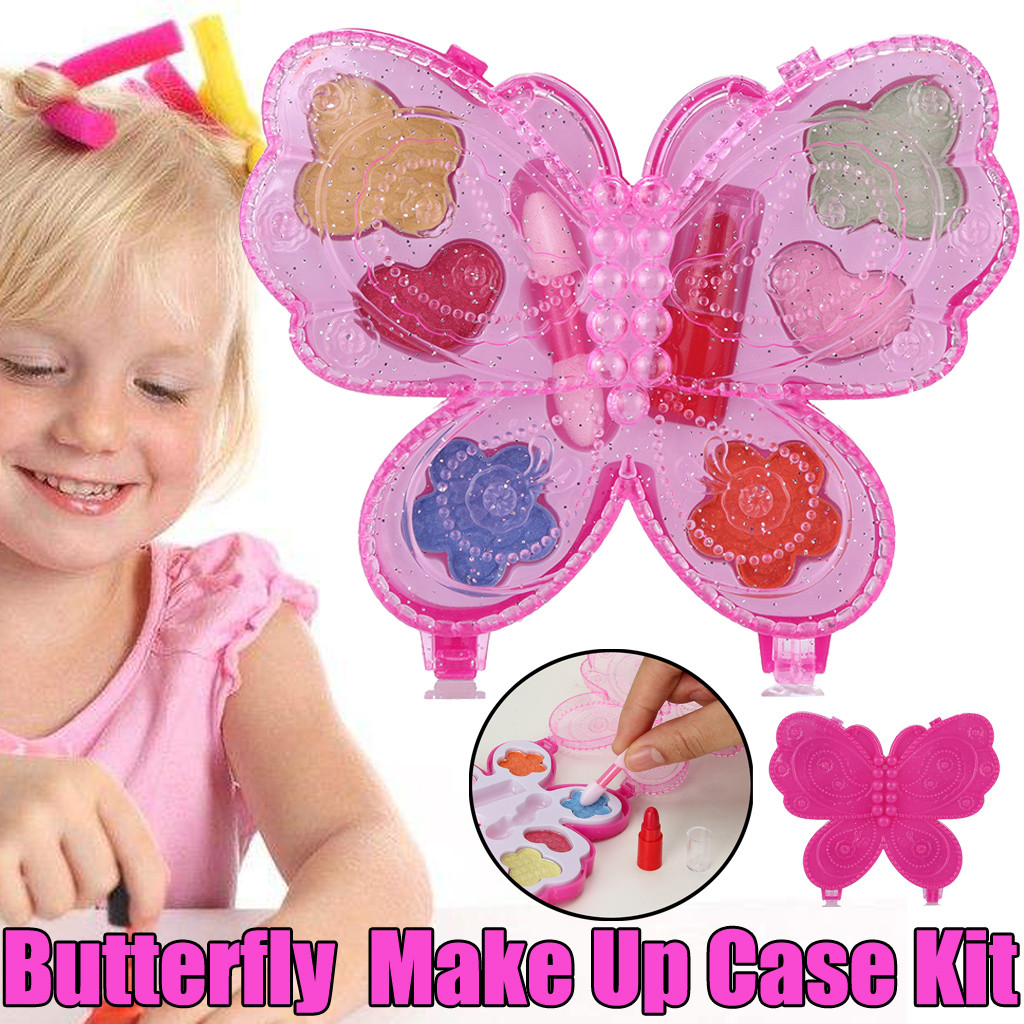 Portable Butterfly Princess Girl's Washable Makeup Toy NON TOXIC Deluxe Makeup Case Set For Kids Toys For Children Baby Toys